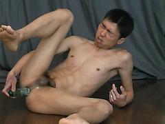Gay Asian Amateurs - Kei Fucks Cucumber