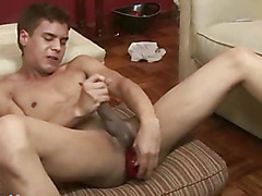 Twink daredevil shoves the biggest toys up his bum