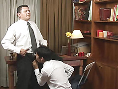 The guy went wild blowing his future employer and soon was bent over the table, boss's tongue deep in his crack