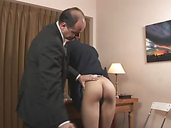 Horny boss make the boy bend over, pull his pants down and shamelessly explore the soft textures of his buttock with his hot pulsing cock