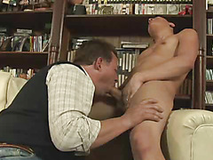 The man grab the tasty young meat and start mouthing it as his anal need gets worse with every second