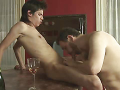 Hairy old ass banged by a skinny young lover