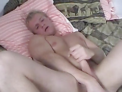 Sebastian plays with his tight ass with a dildo. He pushes it in and out his ass until he blows his load.