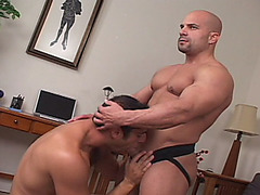 Super fit Antonio Palucci opens this video with some classic muscle posing, showing off those amazingly well-toned guns. Morgan Archer likes what he sees and moves in to blow Antonio's big meat. His saliva gets it all lubed up and he decides the best place for this beast is up his hungry hole. He sits on it and thrusts up and down until Antonio works up a major sweat.