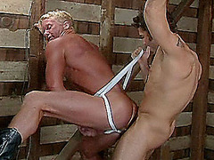 Hot gay fucks big muscled blond gay in the attic of a club