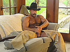 Cowboy taking a shower after jerking off his aroused cock
